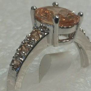 Morganite oval stone in silver